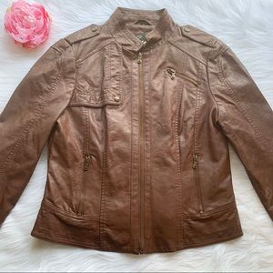 Guess faux leather brown jacket, size large